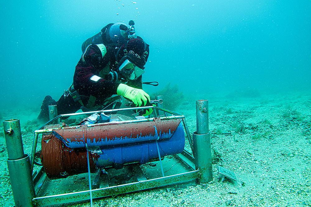 Scientific Diver with loggers