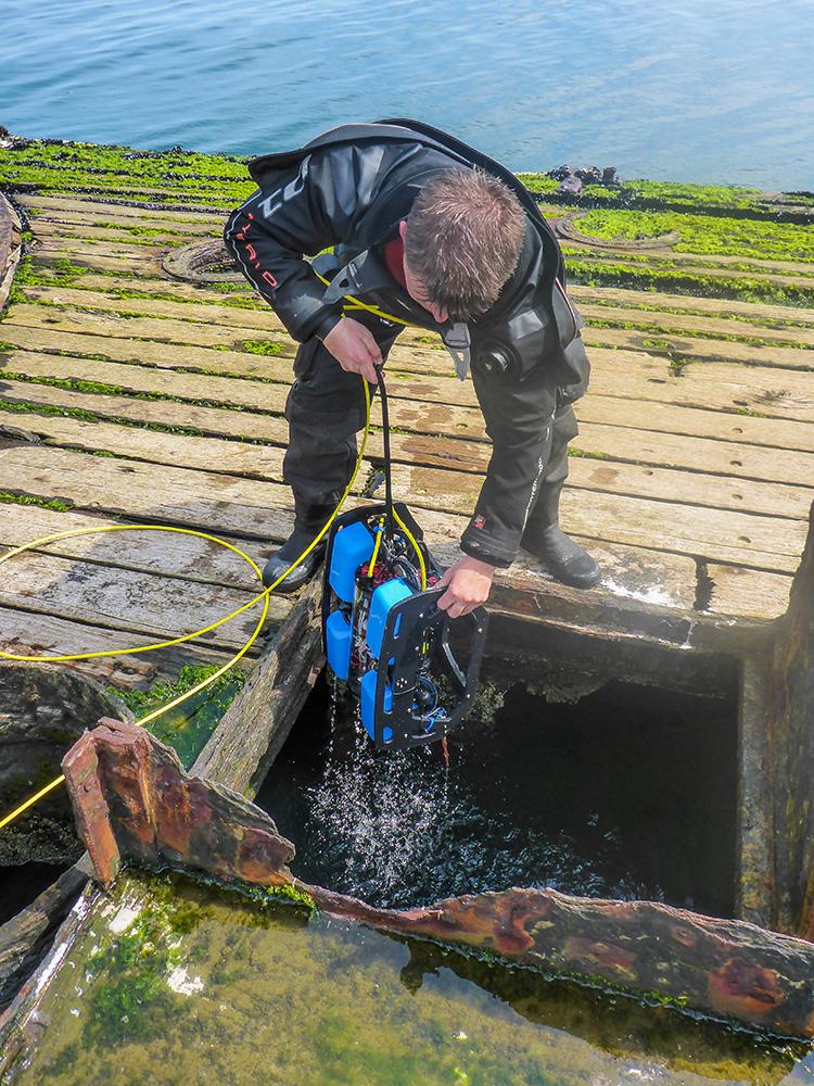 Scientific diver with ROV